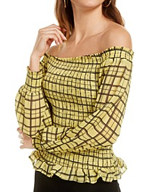 Plaid Smocked Peasant Top, Created for Macy's