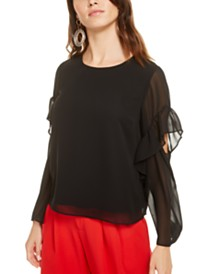 Bar III Cutout Ruffle-Sleeve Top, Created for Macy's
