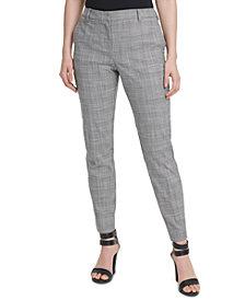 DKNY Petite Plaid Fixed-Waist Skinny Pants