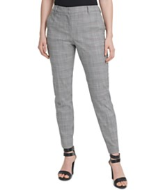 DKNY Plaid Fixed-Waist Skinny Pants