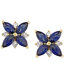 Sapphire (1-5/8 ct. t.w.) & Diamond (1/8 ct. t.w.) Flower Stud Earrings in 14k Gold