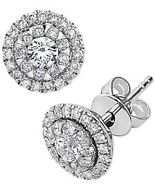 EFFY® Diamond Halo Stud Earrings (3/4 ct. t.w.) in 14k White Gold