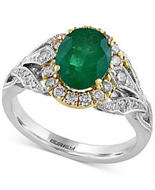 EFFY® Emerald (1-1/2 ct. t.w.) & Diamond (3/8 ct. t.w.) Ring in 14k Gold & White Gold