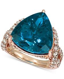 Le Vian® Deep Sea Blue Topaz (9 ct. t.w.) & Nude Diamonds (1-3/4 ct. t.w.) Ring in 14k Rose Gold