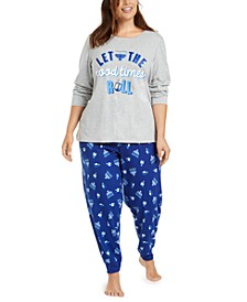 Matching Plus Size Let The Good Times Roll Hanukkah Pajama Set, Created for Macy's