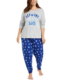 Matching Family Pajamas Plus Size Let The Good Times Roll Hanukkah Pajama Set, Created for Macy's
