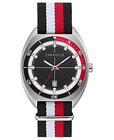 Caravelle Designed by Bulova Men's Black, White & Red Nylon Nato Strap Watch 40mm