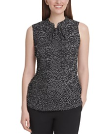 DKNY Dot-Print Pleated Tie-Neck Top