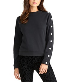 RACHEL Rachel Roy Snap-Sleeve Crewneck Sweatshirt