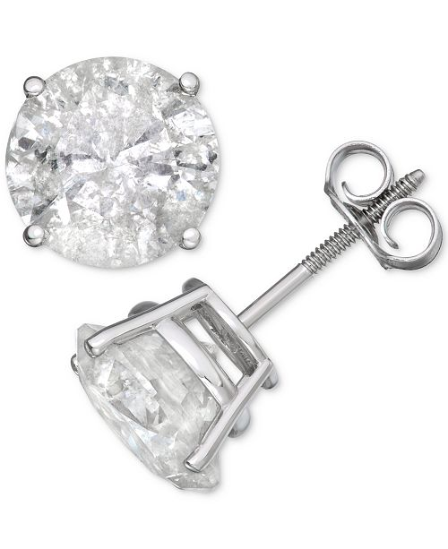 Macy's Diamond Stud Earrings (6 ct. t.w.) in 14k White Gold