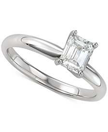 Diamond Emerald-Cut Solitaire Engagement Ring (1 ct. t.w.) in 14k White Gold