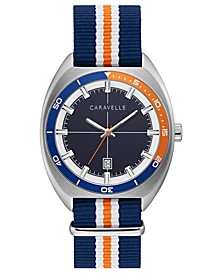 Men's Blue, Orange & White Nylon Strap Watch 40mm