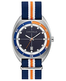 Caravelle Designed by Bulova Men's Blue, Orange & White Nylon Strap Watch 40mm