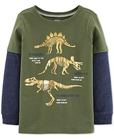 Little & Big Boys Dinosaur-Print Layered-Look T-Shirt