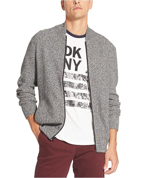 DKNY Men's Seed Stitch Full-Zip Sweater