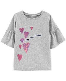 Carter's Little & Big Girls Cotton Flip Sequin T-Shirt
