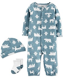 Baby Boys 3-Pc. Penguin-Print Hat, Converter Gown & Socks Set