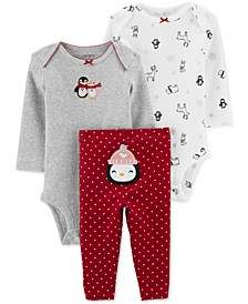 Baby Girls 3-Pc. Cotton Bodysuits & Penguin Pants Set