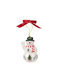 CLOSEOUT! Christmas Tree Snowman with Black Hat Ornament