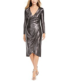 Metallic-Jersey Faux-Wrap Dress