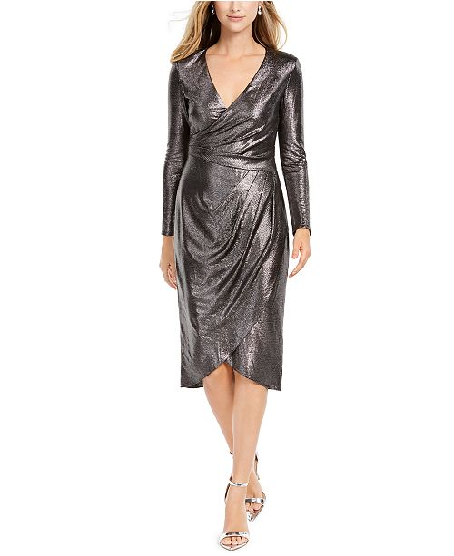 Adrianna Papell Metallic-Jersey Faux-Wrap Dress