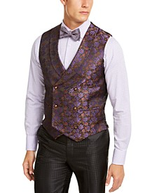 Men's Slim-Fit Purple Floral Vest