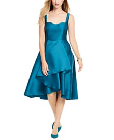 Adrianna Papell Sculpted High-Low Mikado Dress