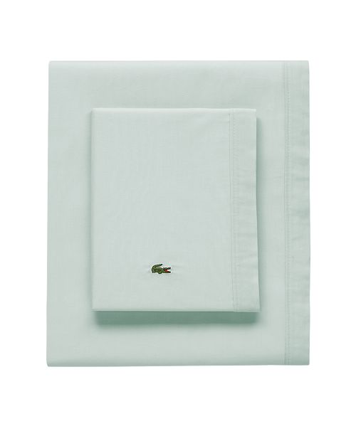 Lacoste Home Lacoste Percale Pale Aqua Solid Queen Sheet Set