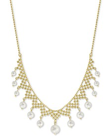 """EFFY® Cultured Freshwater Pearl (4-1/2, 6 & 8-1/2mm) Statement Necklace in 18k Gold-Plated Sterling Silver, 18"""" + 2"""" extender"""