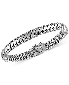 Esquire Men's Jewelry Heavy Serpentine Link Bracelet in Sterling Silver or 14K Gold over Silver , Created for Macy's