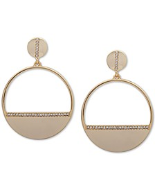 Gold-Tone Pavé Hoop Drop Earrings
