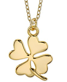 "Unwritten Four Leaf Clover Pendant Necklace in Gold-Tone Sterling Silver, 16"" + 2"" extender"