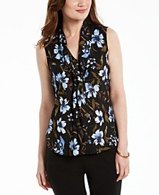 Floral-Print Tie-Neck Blouse