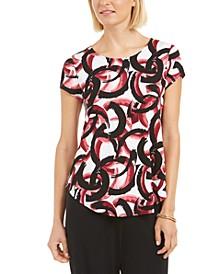 Petite Printed Round-Hem T-Shirt, Created for Macy's