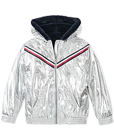 Big Girls Hooded Metallic Jacket With Faux-Fur Trim