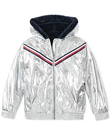Tommy Hilfiger Big Girls Hooded Metallic Jacket With Faux-Fur Trim