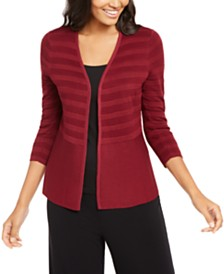Alfani Petite Mixed-Stitch Cardigan, Created for Macy's