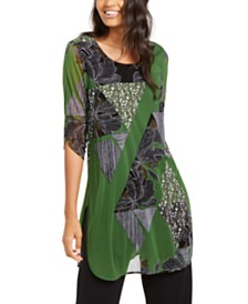Alfani Petite Sheer Printed Tunic, Created for Macy's