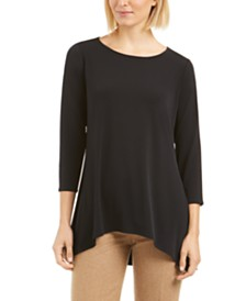 Alfani 3/4-Sleeve Trapeze Top, Created for Macy's