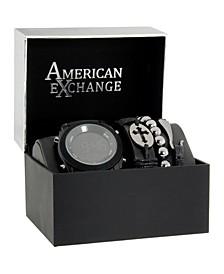 Men's Analog Quartz Black Silicone Strap Watch 27mm