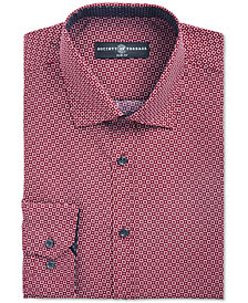Society of Threads Men's Slim-Fit Non-Iron Performance Geo Square Dress Shirt