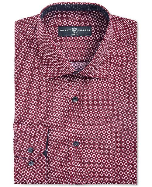 Society of Threads Men's Slim-Fit Non-Iron Performance Geo Square Dress Shirt