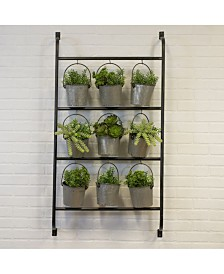 VIP Home & Garden Natural Metal Wall Planter with Buckets