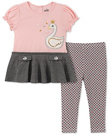 Kids Headquarters Baby Girls 2-Pc. Swan Tunic & Leggings Set