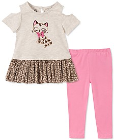 Kids Headquarters Baby Girls 2-Pc. Cold-Shoulder Cat Tunic & Leggings Set