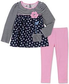 Baby Girls 2-Pc. Striped Floral-Print Top & Leggings Set