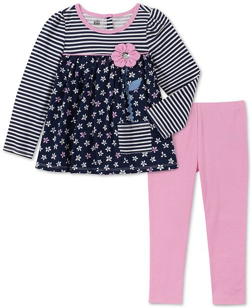 Kids Headquarters Baby Girls 2-Pc. Striped Floral-Print Top & Leggings Set