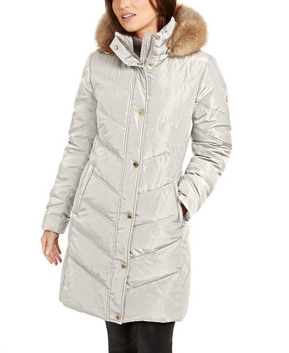 Michael Kors Chevron Faux-Fur Trim Hooded Down Puffer Coat
