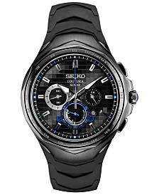 Seiko Men's Solar Chronograph Coutura Black Silicone Bracelet Watch 45.5mm