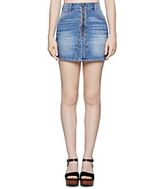 Cotton Studded Denim Mini Skirt